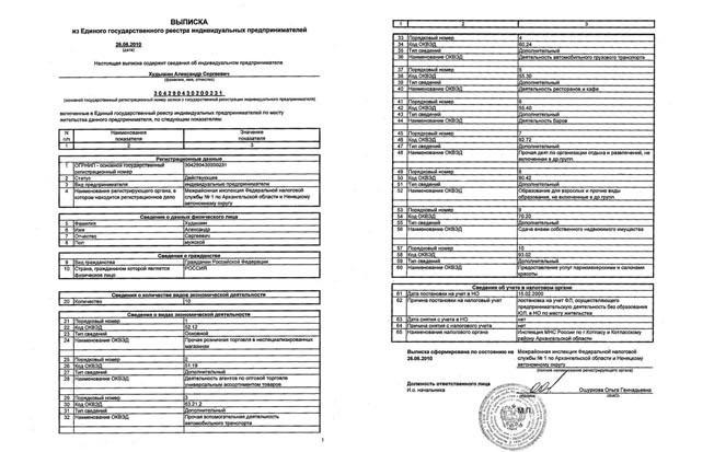 Выписка ЕГРИП для открытия (регистрации) ИП