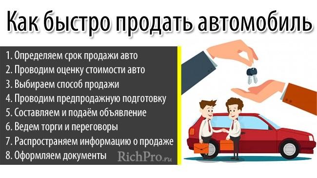 Инструкция продажи машины