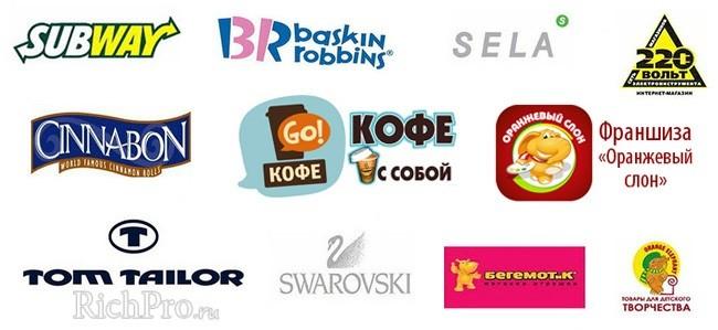 Примеры популярных франшиз