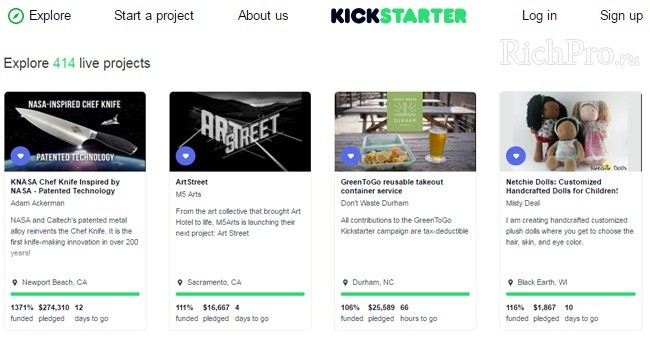 платформа (площадка) kickstarter.com - Кикстартер