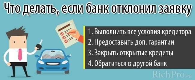 Что делать, если заявка на автокредит отклонена банком - советы
