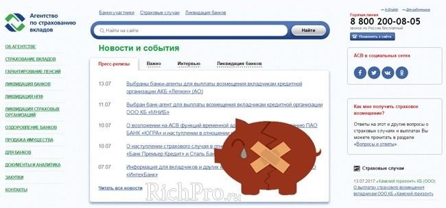 Официальный сайт Агентства по страхованию вкладов