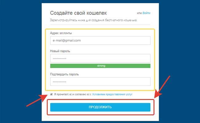 Заполнение данных для успешной регистрации кошелька