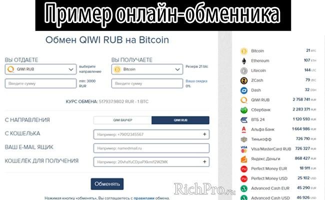 пример онлайн-обменника для ввода и вывода денег на кошелёк блокчейн