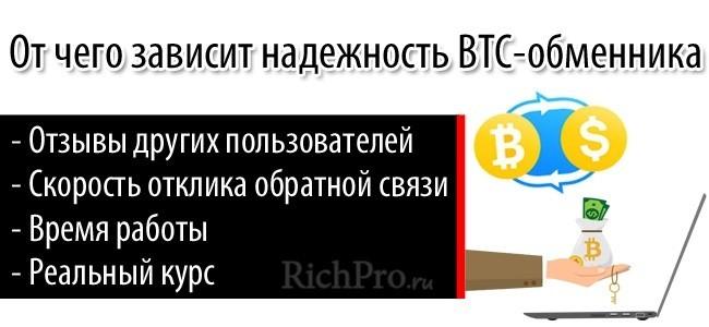По каким фактором определяется обменник биткоинов