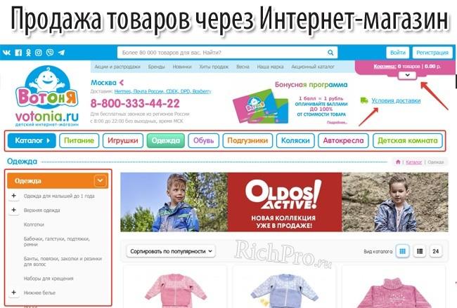 Создание интернет-магазина и продажа товаров через него