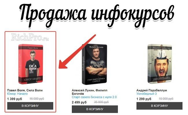 Продажа инфопродуктов в Интернете от Павла Воли, Андрея Парабеллума и Алексея Лукина